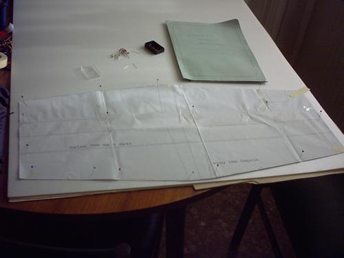 Cartamodello fermato con spilli sul Depron